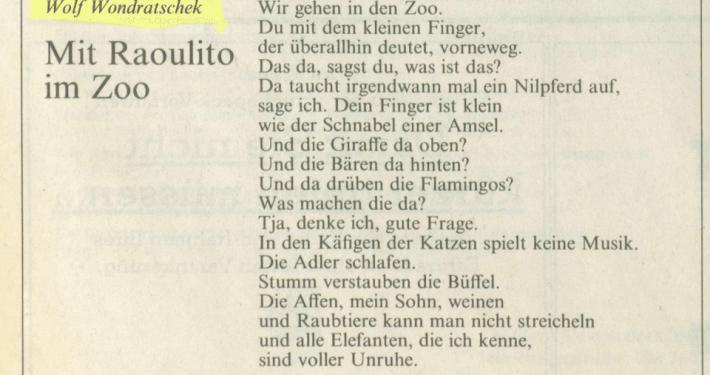 """""""Mit Raoulito im Zoo"""" – Gedicht von Wolf Wondratschek in der FAZ"""