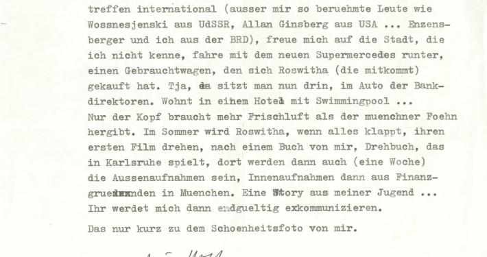 Brief von Wolf Wondratschek vom 02.04.1979