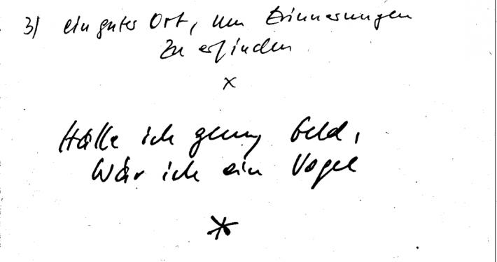 Auszug aus Wolf Wondratscheks Notizbuch