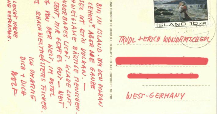 Postkarte von Wolf Wondratschek an seine Eltern