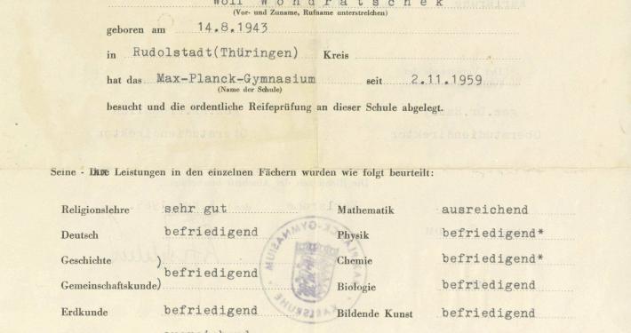 Ausschnitt aus Wolf Wondratscheks Reifezeugnis, Max-Planck-Gymnasium Karlsruhe, 1962