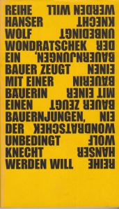 """Cover der Erstausgabe von """"Ein Bauer zeugt mit einer Bäuerin einen Bauernjungen, der unbedingt Knecht werden will"""" 1969"""