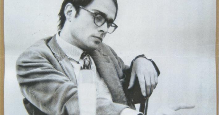Wolf Wondratschek bei seiner ersten öffentlichen Lesung in Frankfurt, 1965