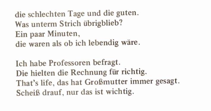 Gedicht von Wolf Wondratschek im Internationalen Poesiekalender 1983