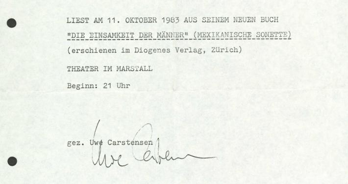 """Einladung zu einer Lesung Wolf Wondratscheks aus """"Die Einsamkeit der Männer"""", 1983"""