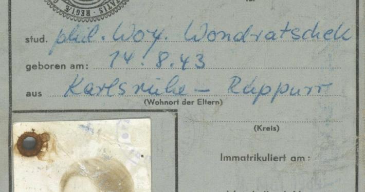 Wolf Wondratscheks Studentenausweis