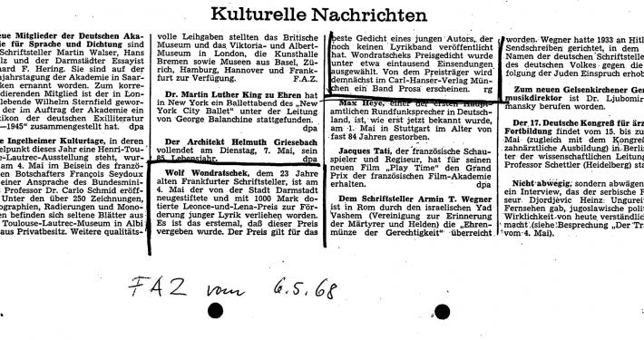 Meldung in der FAZ über die Verleihung des Leonce-und-Lena-Preises an Wolf Wondratschek, 06.05.1968