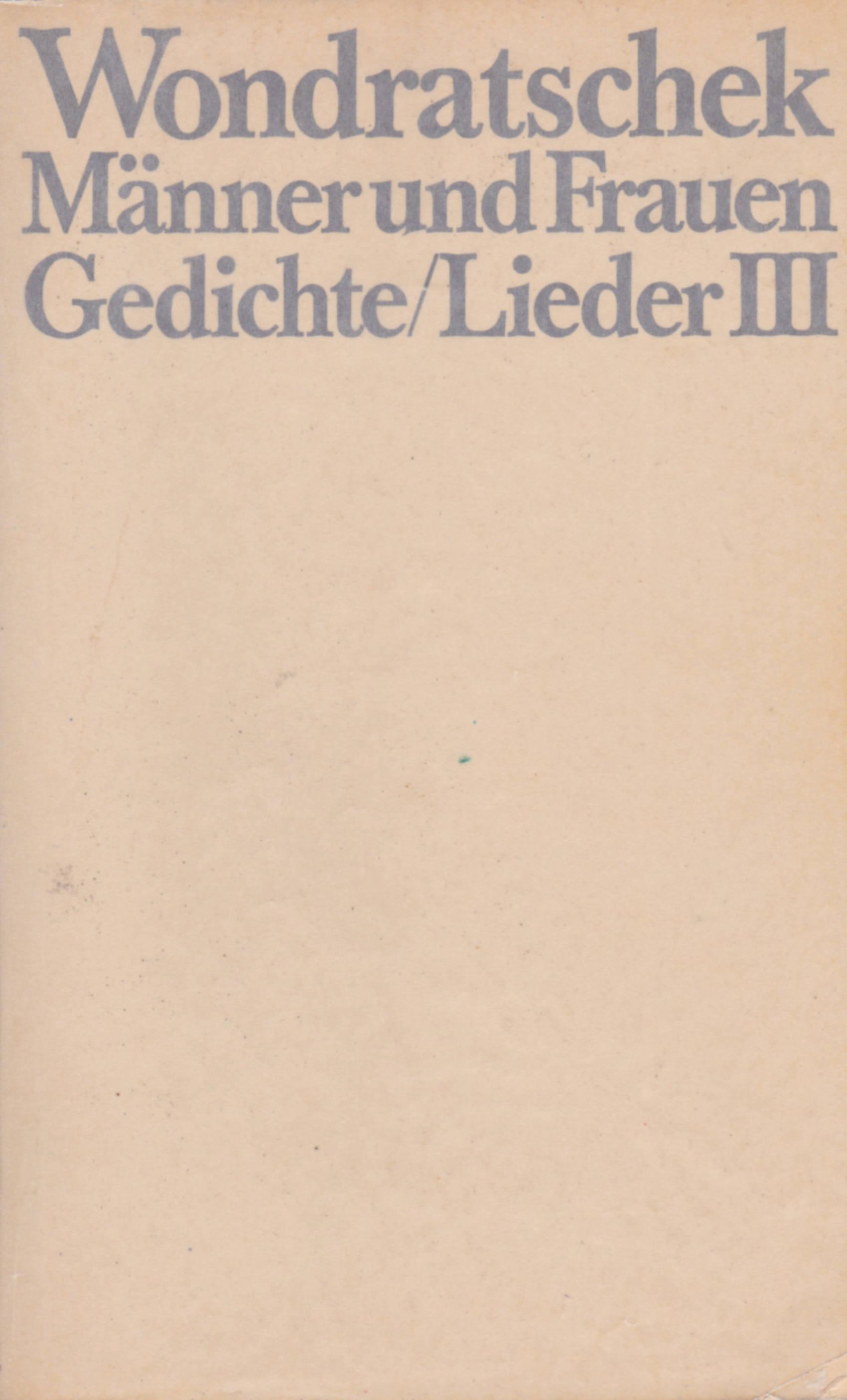 """Cover der Erstausgabe von """"Männer und Frauen. Gedichte/Lieder 3"""" 1978"""